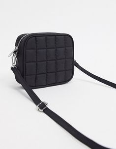 Monki Lenny recycled nylon padded bag in black Monki, Nylon Bag, Shoulder Strap, Asos, Fashion Accessories, Latest Trends, Zip, Handbags, Wallet