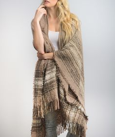 Another great find on #zulily! Mocha Fringe-Hem Poncho by Leto Collection #zulilyfinds