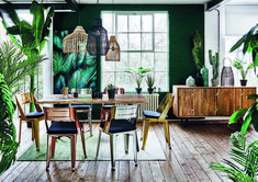 Add an industrial vibe to your dining room with our Urban Jungle trend. Earthy greens and and reclaimed woods are offset by light bamboo features for familiarity with a twist.