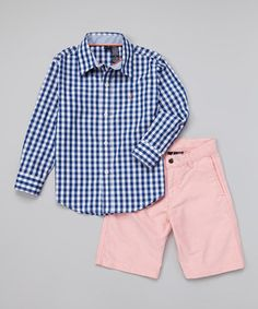 Loving this Nautica Navy Gingham Button-Up & Salmon Shorts - Infant, Toddler & Boys on #zulily! #zulilyfinds