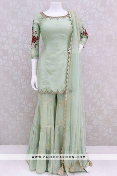 pista soft silk gharara suit from palkhi fashion with resham embroidery,petite stone,kundan work. Beautiful Pakistani Dresses, Pakistani Dresses Casual, Indian Gowns Dresses, Indian Fashion Dresses, Pakistani Dress Design, Indian Designer Outfits, Dress Casual, Casual Chic, Gharara Designs