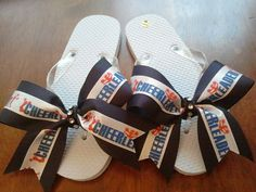 4b3c17c9d39d3a Cheer Bow Flip Flops with Bling Great Gift for by BowheadNation Cheer Coach  Gifts