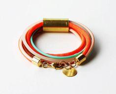 Tangerine Orange Mint Bracelet - Neon Bracelet - Rope Bracelet  - Wrap Bracelet by feltlikepaper on Etsy https://www.etsy.com/listing/129654101/tangerine-orange-mint-bracelet-neon