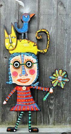 """Tracey Ann Finley Original Folk CutOut Painting Bird Cat Girl Pinwheel Flower  """"Miss Petunia Pinwheel & Friends"""""""