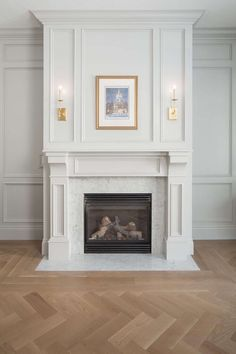 Classic Fireplace, Traditional Fireplace, Faux Fireplace, Fireplace Design, Fireplace Ideas, Wood Mantle, Mantel Ideas, Painted Fireplace Mantels, Fireplace Lighting