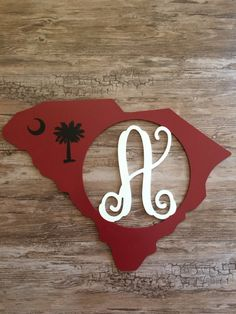 Custom South Carolina Hand Painted Wood State Letter Monogram Door Wreath Decoration Tailgate Sports Decor Gift Any State College Mascot