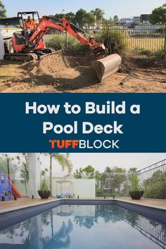 This Pool deck was made possible by using Tuffblocks. TuffBlocks have an ultra low profile of only 2 inchs from the ground to the base where the joist or post sits. If you want to know more about our product please click the video.