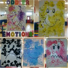 Preschool Emotions theme: toddlers used different art tools to paint and decorate large poster sized emotion faces! We associated each different emotion with a different color...except we went a little silly with silly :) kids had fun and they created these posters during free art! We just let them have at it!