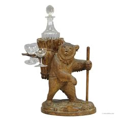 wooden carved bear decanter stand swiss brienz 1900