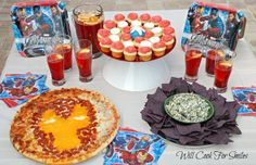 Avengers Family Fun Night--Loved this!!  I made the Iron Man pizza and Hulk Smash guac with black chips.