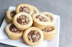 Nutella sugar cookie cups from a mini muffin pan. Delicious dessert idea!