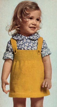 Adorable vintage pinafore, why am I taller than the average three year old? Vintage pinafore jumper worn by the sweetest little girl. Vintage Pinafore (Inspiration only as pattern is no longer available, will have to continue to look for another pattern l Knitting For Kids, Crochet For Kids, Baby Knitting, Knit Crochet, Girls Knitted Dress, Knit Dress, Toddler Outfits, Girl Outfits, Baby Pullover