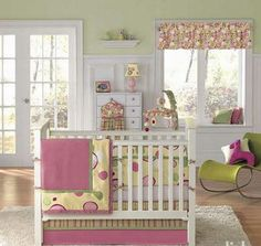 I like this idea if its a girl....and my nursery is current a shade of green just like this!