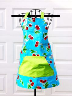 Oilcloth Apron  Aqua with Red Cherries by LindasOtherLife on Etsy, $40.00
