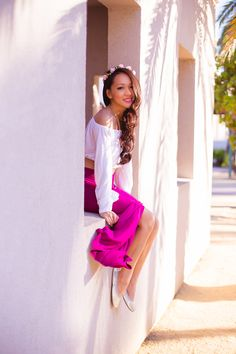 bohemian style, off the shoulder top, slit skirt, studded flats, fashion blog, style by alina