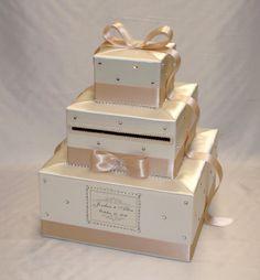 Elegant Custom made Ivory-Champagne(Beige) Wedding Card Box-rhinestones,crystals Magenta Wedding, Beige Wedding, Blush Pink Weddings, Trendy Wedding, Diy Wedding, Wedding Reception, Money Box Wedding, Wedding Gift Boxes, Wedding Cards