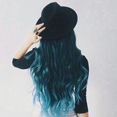 Blue ombre on dark hair
