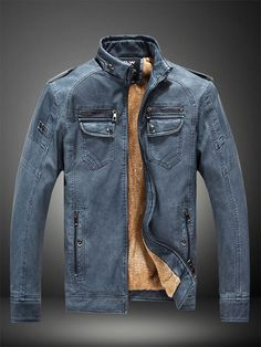 44245501a6e Casual Mens Slim Fit Stand Collar Leather Jacket Jacket Men