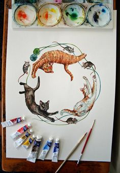 Cat Circle  Original Watercolor Painting of three cats от jodyvanB