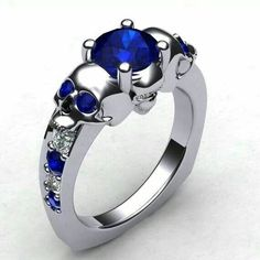 Blue Skull Ring
