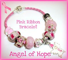 Angel of Hope Pink Ribbon Breast Cancer Awareness Charm Bracelet Free Gift Pin $25