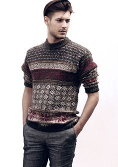 colorwork. palette.  A hottie in pretty sweater.  What's not to like?
