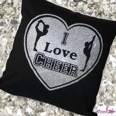 I Love Cheer cushion cover <3 #ilovecheer #cushioncover #cheergift #cheeraccessories #accessories #girlsroomdecor #bedroomdecor #kidsroomdecor #black #silver #glitter #cheer #cheerleader #cheerleading #instacheer
