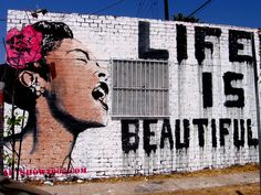 Canvas World Graffiti + Banksy ~Billy Holiday Life Is Beautiful Street Art Banksy Graffiti, Graffiti Wall Art, Street Art Graffiti, Bansky, Banksy Canvas, Urban Graffiti, Heart Graffiti, Belle, Street Artists