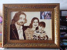ahşap yakma aile tablo çalışmam