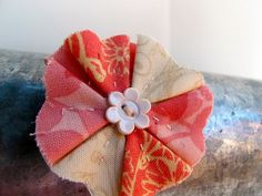 coral pink cream ivory shabby chic flower clip by PoppyandPippa, $5.50