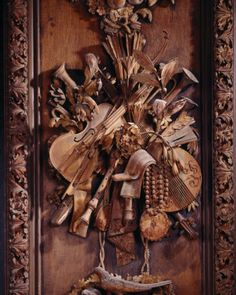 The limewood carving of musical instruments by Grinling Gibbons, situated on the east wall of the Carved Room at Petworth Architectural Salvage, Architectural Elements, National Trust, Great Works Of Art, Carving Designs, Custom Made Furniture, How To Antique Wood, Wood Paneling, Wood Art