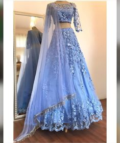 Buy Elegant Blue Two Pieces Lace Appliques Scoop Sleeve Long Cheap Prom Dresses on sale.Shop prom or formal dresses from Promdress. Find all of the latest styles and brands in Junior& prom and formal dresses at SisaStore Indian Bridal Outfits, Indian Designer Outfits, Designer Dresses, Indian Gowns Dresses, Pakistani Dresses, Bridal Dresses, Party Dresses, Indian Lehenga, Lehenga Choli