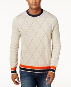 Tommy Hilfiger Men's Archer Argyle Sweater - Natural Pearl L