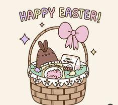 Happy easter // Pusheen the cat Gato Pusheen, Pusheen Love, Pusheen Stuff, Happy Easter Gif, Pusheen Stormy, Kawaii 365, Kawaii Drawings, Cat Drawing, Crazy Cats