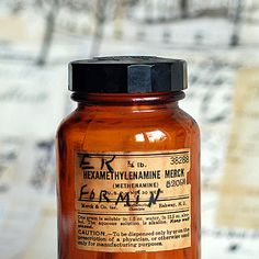 HEXAMETHYLENAMINE MERCK antique medical amber by CoolVintage