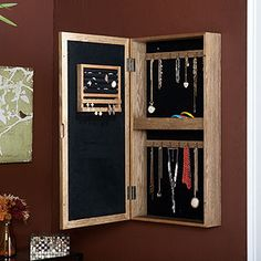 Wall Mount Jewelry Armoire--maybe inset like a medicine cabinet?