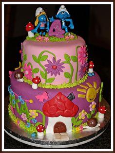 Smurfs Cake Top Smurfs Cakes birthday party girl boys schtroumphs