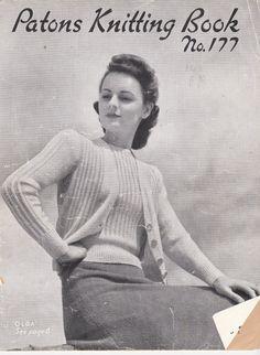 Vintage 1940s  Paton's Knitting Pattern No 177 by jennylouvintage