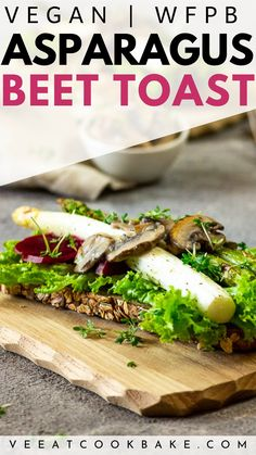 How to make Vegan Asparagus Toast with Beets, Creamed Mushrooms, Lettuce on Rustic Sourdough Bread. This toast is ideal for a breakfast or lunch. Make it even as sandwich to bring it with you for picnic or for a road trip. Gluten-free with a glutenfree bread. This plant-based toast recipe is wfpb friendly #veganlunch #veganbreakfast #vegantoast #healthyvegan #glutenfreerecipe Vegan Lunch Recipes, Vegan Dinners, Healthy Recipes, Quick Vegan Breakfast, Vegan Breakfast Recipes, Creamed Mushrooms, Stuffed Mushrooms, Stuffed Peppers, Plant Based Diet