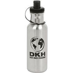 DoKnowHarm EcoFriendly Brushed Stainless Steel Wide Mouth Sports Water Bottle Canteen  20 oz * Click on the image for additional details.Note:It is affiliate link to Amazon.