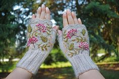 Your place to buy and sell all things handmade Fall Accessories, Crochet Accessories, Forest Girl, Fingerless Gloves Knitted, Pretty Art, Hand Warmers, Crochet Toys, Knitting Projects, Stitches