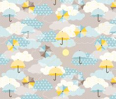 Umbrellas in the clouds fabric by heleenvanbuul on Spoonflower - custom fabric