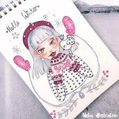 Hi Darling. Amazing Drawings, Cute Drawings, Amazing Art, Christmas Illustration, Illustration Art, Christmas Drawing, Art Challenge, Character Design Inspiration, Art Portfolio