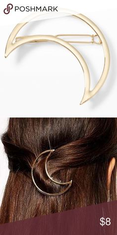 Moon BARRETTE Goldtone BRAND NEW!! Subtle and sophisticated, this gold hair barette is constructed in a half-moon shape for a whimsical touch.   - Metal   - Half-moon shape construction; pop-up hinge click closure   - Imported     Item is BRAND NEW, direct from the Manufacturer, & sealed in package.  austin gal Accessories Hair Accessories