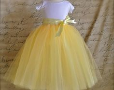 Items similar to Yellow  and grey Flower Girl tutu. Custom blend yellows. Flower clip option. on Etsy
