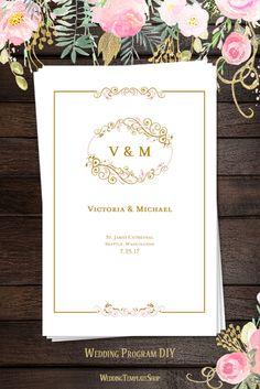 Wedding Program Templates, DIY Printable Blush Pink & Gold, Madelyn Design Series.