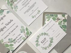 The Eucalyptus design is classic, elegant and very charming. Using watercolour illustrations, this design is ideal for a wedding anytime of the year and looks great in a variety of colours. Wedding Invitation Design, Wedding Stationery, Watercolor Illustration, Watercolour, Eucalyptus Wedding, Place Names, Stationery Design, Table Plans, Booklet