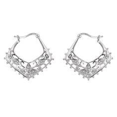 0594bd809 Sterling Silver & CZ Floral Filigree Hoop Earrings Fashion Jewelry, Jewelry  Shop, Jewellery,