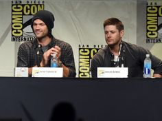 "Jared Padalecki Photos Photos - Actors Jared Padalecki (L) and Jensen Ackles speak onstage at the ""Supernatural"" panel during Comic-Con International 2015 at the San Diego Convention Center on July 12, 2015 in San Diego, California. - The 'Supernatural' Panel at Comic-Con International 2015"