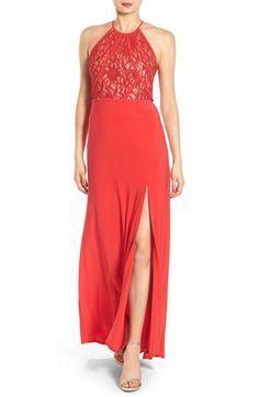 Morgan & Co. Illusion Sparkle Lace Gown